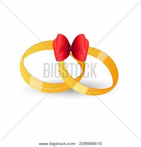 Wedding rings on a white background. Vector Image