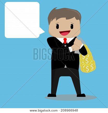 Cartoon businessman with a big bag of money