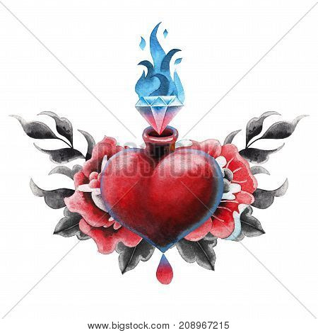 Watercolor heart with flaming gem and floral decorations. Hand painted art for old school tattoo design isolated on white background