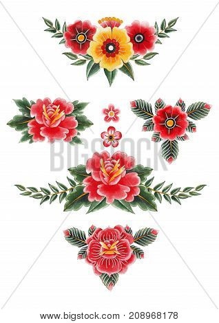 Watercolor floral vignettes isolated on white background. Hand painted collection inspired by old school tattoo design. Traditional style