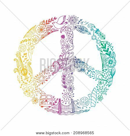 Vector peace symbol made of hippie theme doodle handdrawn icons, pacifism sign. Hippie style ornamental background. Love and peace, hand-drawn doodle background. Colorful peace symbol on white background. Retro 1960s, 70s.