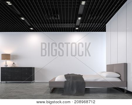 Modern loft bedroom with black steel ceiling 3d rendering image.There is a polished concrete floorwhite paint wallblack steel lattice ceilingFurnished with light gray fabric bed