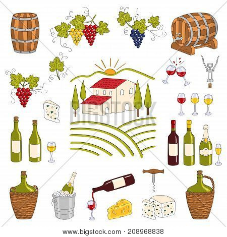 Wine and wine making set vector illustrations hand drawn doodle, vineyard, bottles, glasses, grapes, barrels, cellar. Wine design elements.