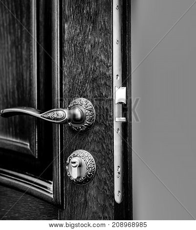 luxury textured wooden door with metallic lock and golden knob with nobody
