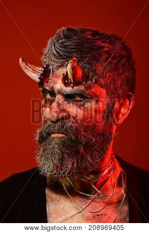 Halloween Satan With Beard, Blood, Wounds On Face