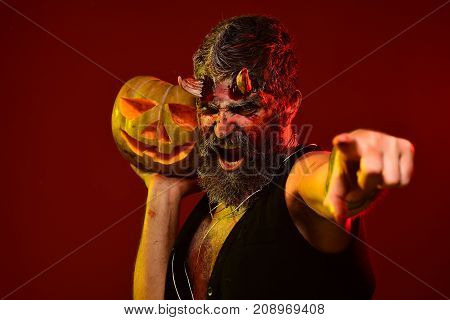Halloween Demon Point Finger With Jack O Lantern