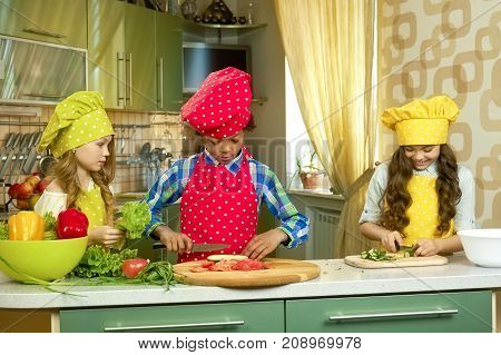 Children in the kitchen. Kids cutting vegetables. Quick and easy salad recipes.