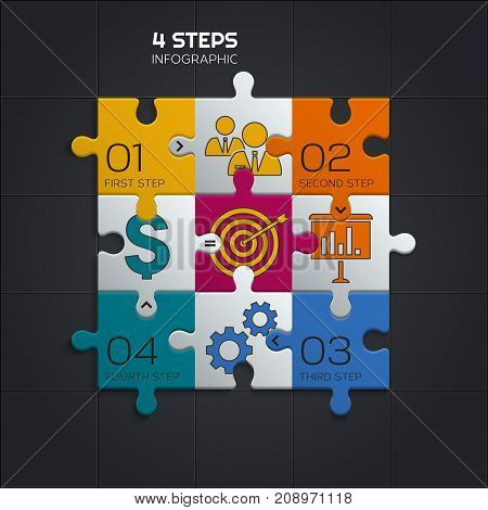 Modern business infographic for your presentation. Four puzzle pieces.