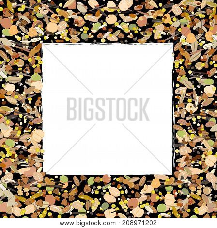 Cereal, grains , seeds, and beans border frame isolated on white background. Background for organic and natural healthy food. Vector illustration
