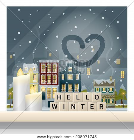 Letters spelling hello winter on wooden table top with winter cityscape background , vector , illustration