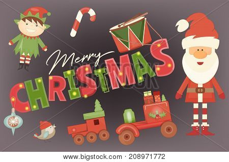 Merry Christmas Greeting Card - Santa Claus Elf and Xmas Toys on Black Background. Vector Illustration.