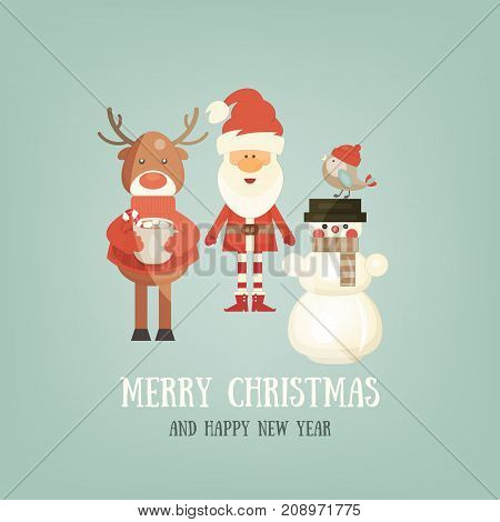 Merry Christmas Greeting Card - Santa Claus and Xmas Characters - Deer Snowman Bird. Square Format. Vector Illustration.