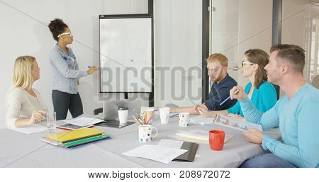 Ethnic woman in casual clothing making presentation on board drawing graphic for attentive coworkers in modern office.