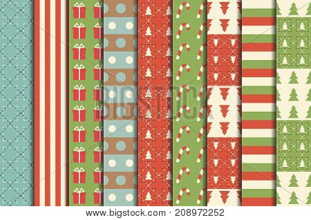 Christmas Seamless Patterns Set - Winter Holidays. Red and Green. Vector Illustration.
