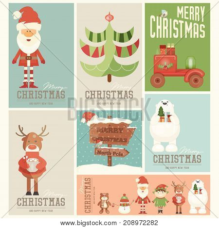 Merry Christmas Posters Set - Santa Claus and Xmas Characters in Cute Set. Vector Illustration.
