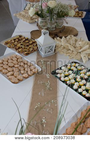 Catering Table Set Service Various Snacks On A Table At Banquet