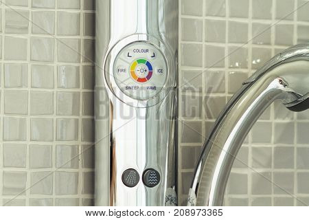Shower In The Bathroom With A Water Spray Or A Stream Of Water