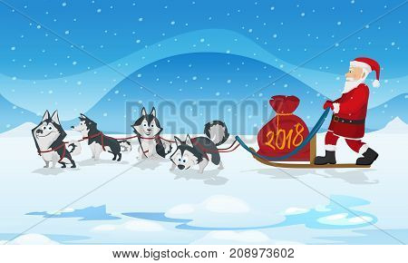 Dogs husky sled team and chrismas red bag. Winter background