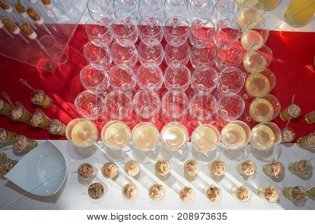A Lot Of Wine Glasses With A Cool Delicious Champagne Or White Wine At The Party