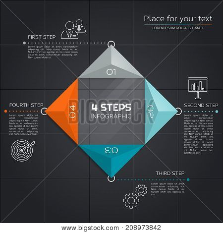Modern business infographic. Design with triangles and four segments for your presentation.