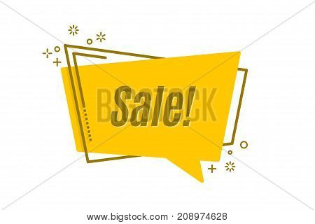 Flat linear promotion sticker scroll price tag sticker badge Vector illustration