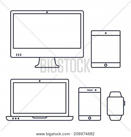 Set of computer monitor laptop smart watch tablet and mobile phone line icon. Vector isolated simple gadgets.