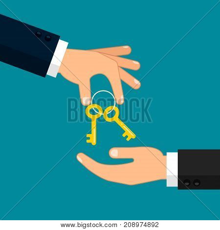 Hand giving key to other hand illustration. Real estate car sale rent apartments or house concept. Vector flat illustration.