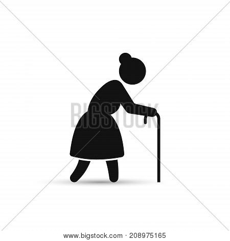 Old woman icon vector. Grandmother silhouette side view on white background.