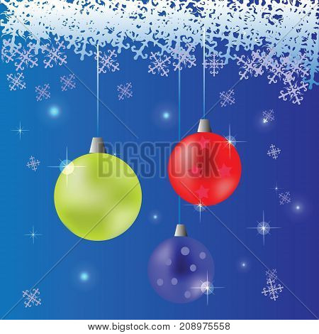 Blue Snow Flake Winter Background. Christmas Colored Glass Balls