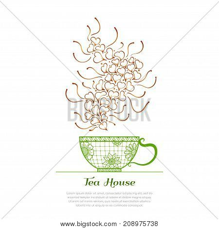 Tea time, tea house. Cup and aroma with floral and geometric design elements. Vector illustration.