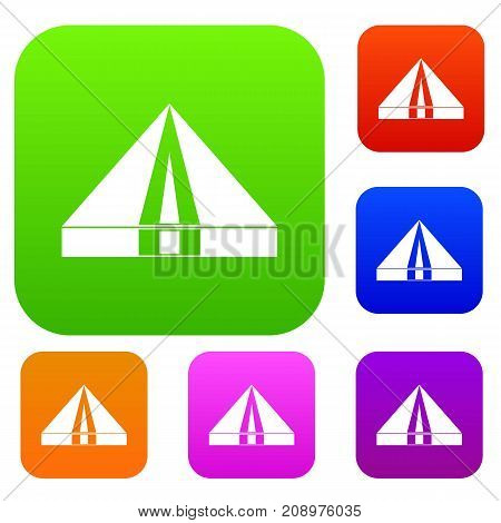 Tourist camping tent set icon color in flat style isolated on white. Collection sings vector illustration