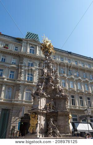 Plague column in Vienna Austria September 2017.