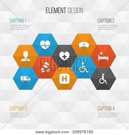 Medicine Icons Set. Collection Of Healer, Handicapped, Rhythm Elements