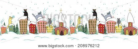 Cartoon and fairy christmas seamless design with cats in silhouettes sitting on houses roofs and watching snowflakes. Horisontal vector background