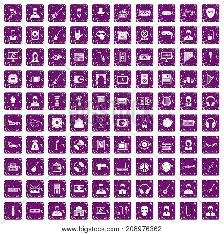 100 music icons set in grunge style purple color isolated on white background vector illustration