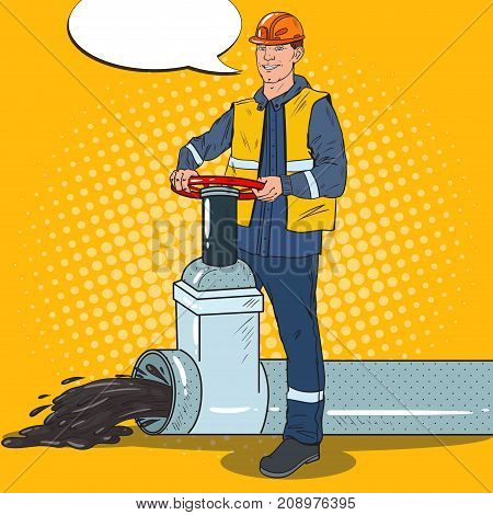 Pop Art Oilman Works with Oil Pipe. Petrochemical Worker. Vector illustration