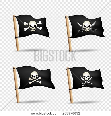 Simple illustration of pirates flags with skulls red eyes and bones or sabers on transparent background. Pirate black flag icon set with shadow. Piracy symbol