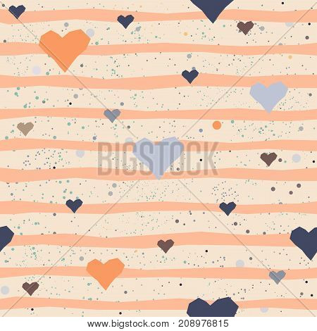 Cute seamless pattern with hand funny hearts and stripes. Vector Illustration