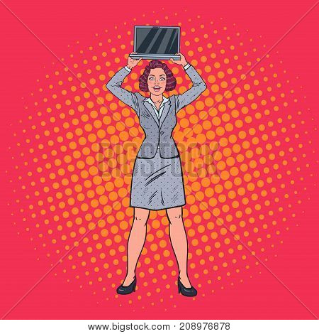 Pop Art Happy Business Woman Holding Laptop. Secretary with Computer. Vector illustration