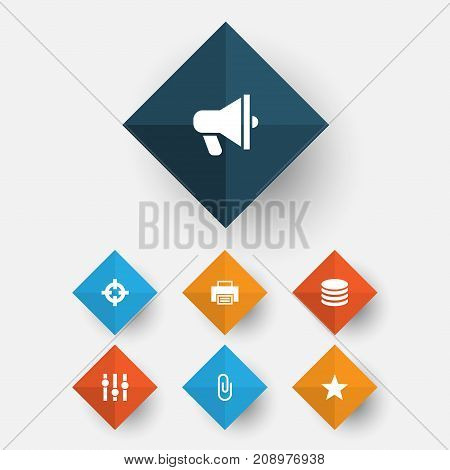 User Icons Set. Collection Of Amplifier, Db, Printer And Other Elements