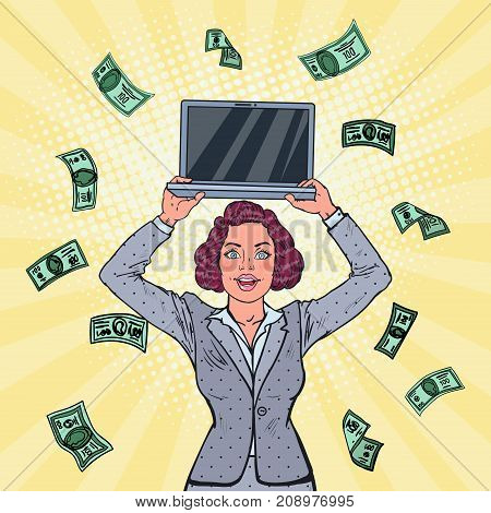 Pop Art Smiling Business Woman with Laptop and Falling Down Money. Career Growth. Vector illustration