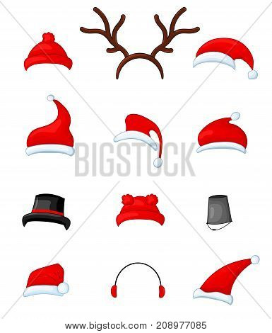 Snowman in scarf, boots, mittens and headphones. item set hats. Create an image of the character. Horn, bucket, Christmas hats of Santa Claus. Christmas cylinder. Isolated objects on white background