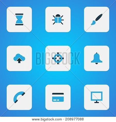 User Colorful Icons Set. Collection Of Painting, Credit Card, Phone And Other Elements