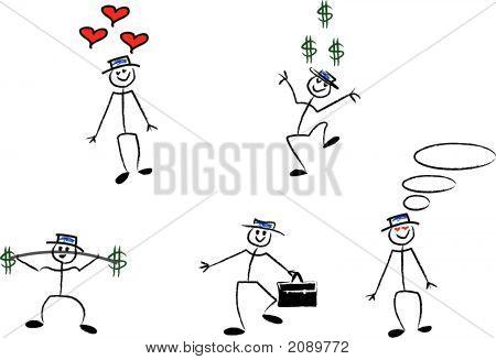 Hand Drawn Cartoon Man.Eps