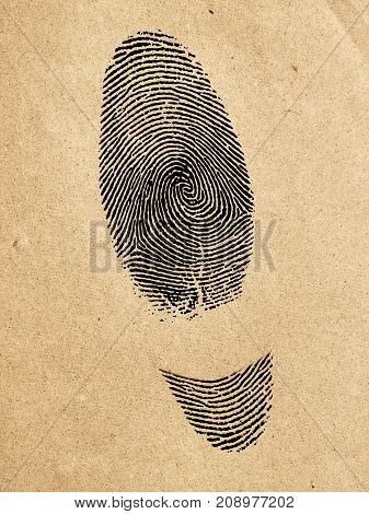 Handmade Shoes Symbol. Manufactured Shoes Concept.silhouette Of Shoes Track From Fingerprint.on Old