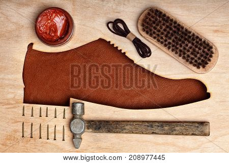Silhoutte Of Leather Shoes Brogues In The Center With Shoe Maintenance Set And Reapir Set.top View.w