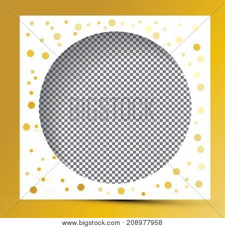 Photo Frame with Golden Splashes and Transparent Background. Empty Template for Blog and Web Page.