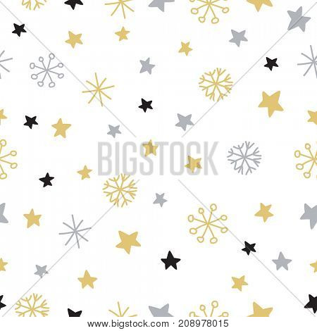 Stylish snowflake pattern. Christmas background with hand drawn snowflakes stars and spots in silver and gold colors on white background. Pattern for textile, posters, cards, scrapbooking,