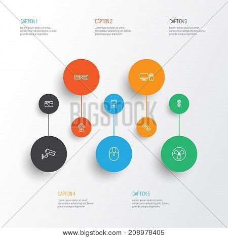 Gadget Icons Set. Collection Of Wireless Router, Control Device, Surveillance And Other Elements