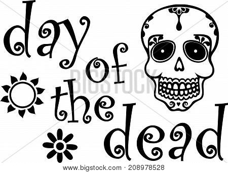 Black and White Day of the Dead Graphic with Skull
